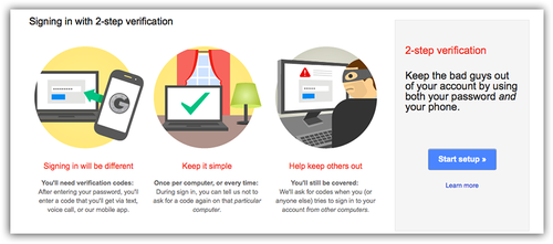Google two-step verification screen