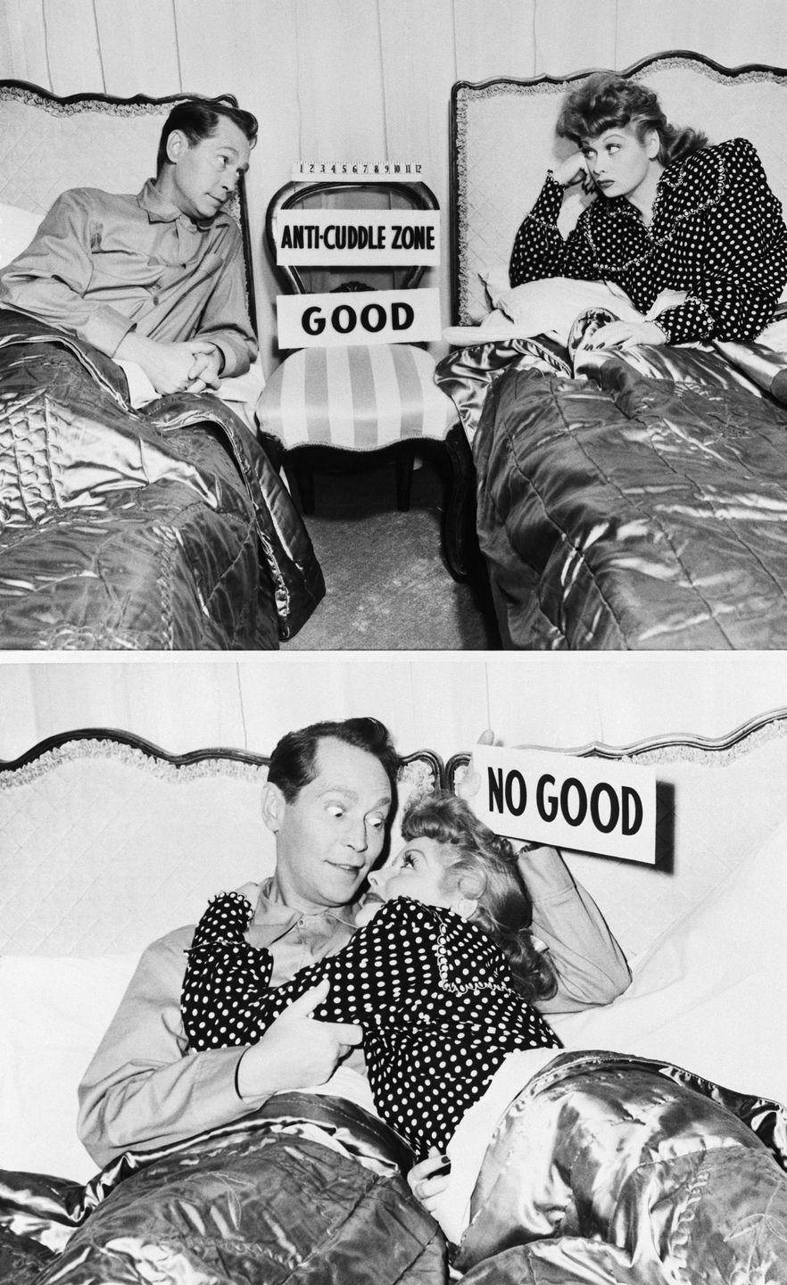 """<p>The stars of <em>Her Husband's Affairs </em>demonstrate the """"anti-cuddle zone"""" that separates their twin beds on set. The actors were forced to film reshoots, costing Columbia Pictures up to $30,000, in order to comply with Britain's <a href=""""https://books.google.co.uk/books?id=3zPpDwAAQBAJ&pg=PA114&lpg=PA114&dq=my+awful+wife+reshoots+lucille+ball&source=bl&ots=DHjqh5XFg6&sig=ACfU3U0zKNpGoKXZobgwrDAb70rtGYu-sA&hl=en&sa=X&ved=2ahUKEwjUvOe169HqAhX8SRUIHWFxDKcQ6AEwH3oECAwQAQ#v=onepage&q=my%20awful%20wife%20reshoots%20lucille%20ball&f=false"""" rel=""""nofollow noopener"""" target=""""_blank"""" data-ylk=""""slk:strict censorship requirements"""" class=""""link rapid-noclick-resp"""">strict censorship requirements</a>. </p>"""