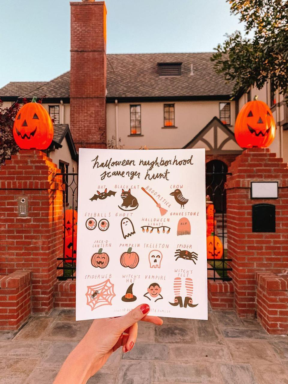 """<p>A neighborhood scavenger hunt is a slam-dunk for family fun any time of year. But give the classic game a Halloween-y twist with this free printable. It will get the family out there in search of pumpkins on stoops, spider webs, blowup ghosts, and more.</p><p><em><a href=""""https://studiodiy.com/neighborhood-halloween-scavenger-hunt-free-printable/"""" rel=""""nofollow noopener"""" target=""""_blank"""" data-ylk=""""slk:Get the printable at Studio DIY »"""" class=""""link rapid-noclick-resp"""">Get the printable at Studio DIY »</a></em></p><p><strong>RELATED</strong>: <a href=""""https://www.goodhousekeeping.com/life/parenting/g32050844/scavenger-hunt-ideas-for-kids/"""" rel=""""nofollow noopener"""" target=""""_blank"""" data-ylk=""""slk:22 Fun Scavenger Hunt Ideas to Keep Your Kids Guessing"""" class=""""link rapid-noclick-resp"""">22 Fun Scavenger Hunt Ideas to Keep Your Kids Guessing</a></p>"""