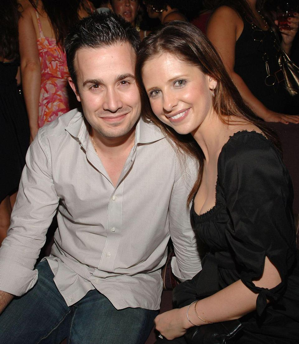 """<p>Sarah Michelle Gellar and Freddie Prinze Jr. make up one of the sweetest Hollywood couples ever. The duo met on the set of the I Know What You Did Last Summer, but they didn't get together until three years later. 'We had made plans for dinner with a mutual friend and the person canceled,' <a href=""""https://people.com/archive/cover-story-viva-el-amor-vol-58-no-14/"""" rel=""""nofollow noopener"""" target=""""_blank"""" data-ylk=""""slk:Sarah Michelle said of their first date"""" class=""""link rapid-noclick-resp"""">Sarah Michelle said of their first date</a>. 'We decided to have dinner anyway and never looked back.' She and Freddie have been married since 2002.</p>"""