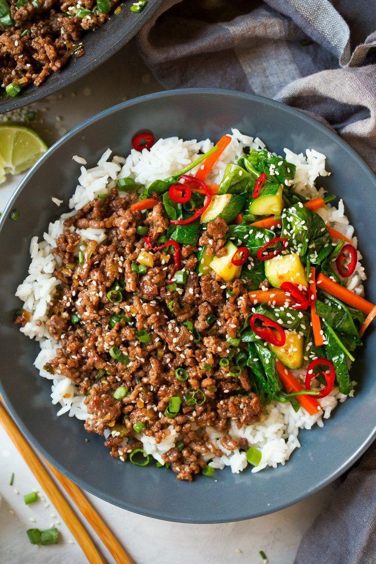 """<p>This Korean beef is the perfect balance of sweet and spice. You'll be drizzling the sauce over every veggie you can find. </p><p><a class=""""link rapid-noclick-resp"""" href=""""https://www.cookingclassy.com/korean-beef-bowls/"""" rel=""""nofollow noopener"""" target=""""_blank"""" data-ylk=""""slk:GET THE RECIPE"""">GET THE RECIPE</a> </p><p><em>Per serving: 398 calories, 14 g fat (5 g saturated), 842 mg sodium, 35 g carbs, 11 g sugar, 29 g protein</em></p>"""