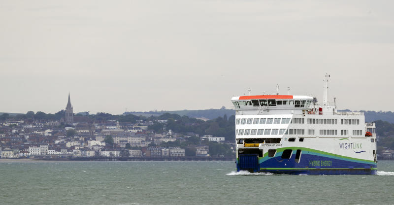 A view of of a Wight Link ferry passing Ryde on the Isle of Wight, Hampshire, as the the island is due to start testing the Government's coronavirus contact tracing app. (Photo by Steve Parsons/PA Images via Getty Images)