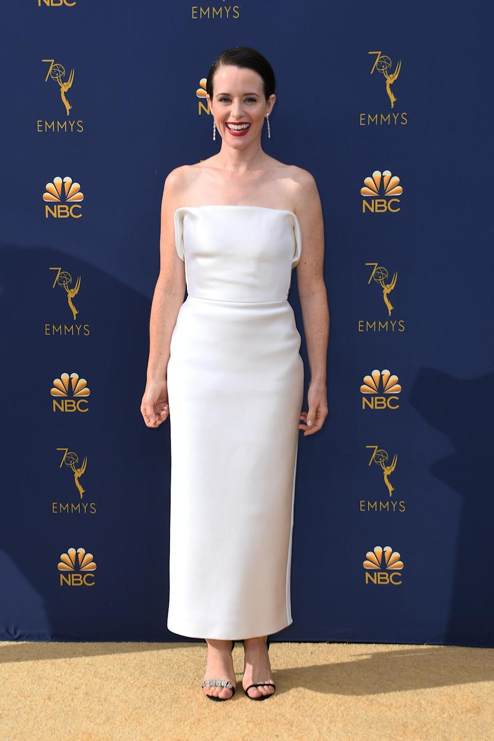<p>Foy looked elegant in a custom Calvin Klein by Appointment dress. (Photo: Getty Images) </p>