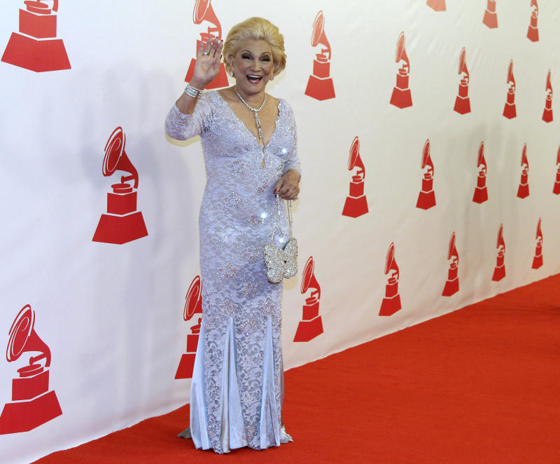 Hebe Camargo arrives at the Latin Recording Academy Person of the Year event honoring Placido Domingo on Wednesday, Nov. 10, 2010, in Las Vegas. (AP Photo/Julie Jacobson)