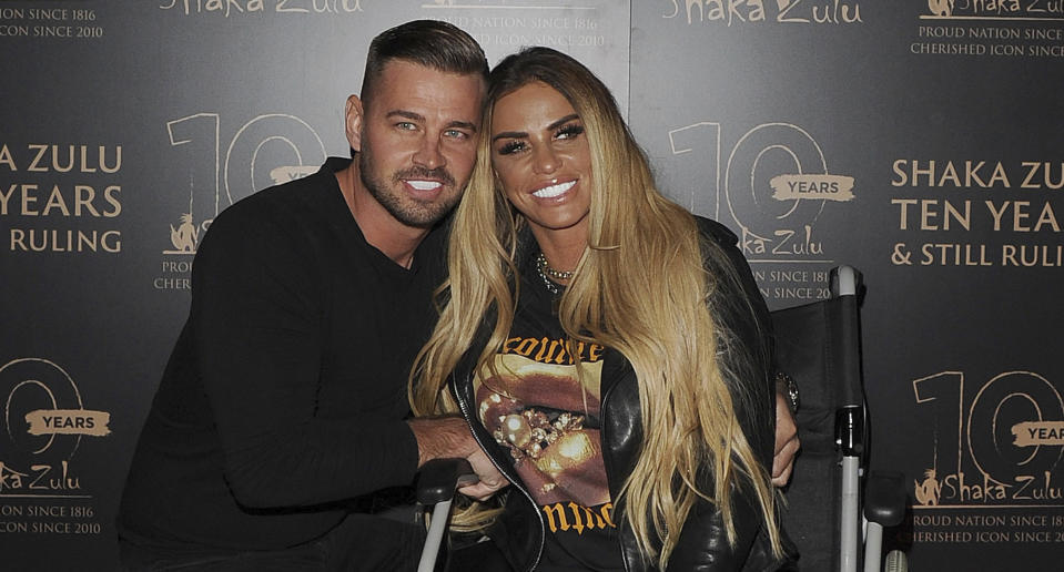 Katie Price and her boyfriend Carl Woods at the 10th Anniversary Celebration for Shaka Zulu Restaurant held on September 10, 2020 in Camden. (zz/KGC-305/STAR MAX/IPx)