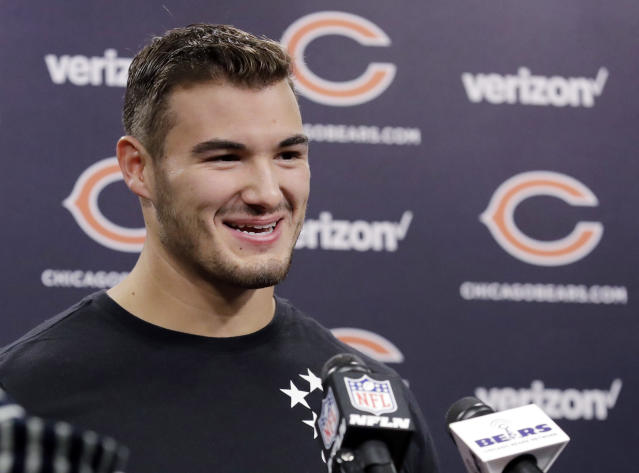 Chicago Bears quarterback Mitchell Trubisky smiles as he talks to reporters after the NFL football team's voluntary veteran minicamp, Thursday, April 19, 2018, in Lake Forest, Ill. (AP Photo/Nam Y. Huh)