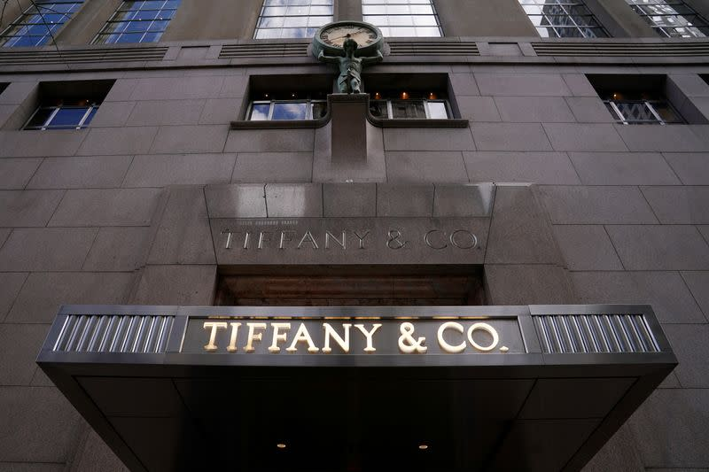 FILE PHOTO: FILE PHOTO: A Tiffany & Co logo is seen outside the store on 5th Ave in New York