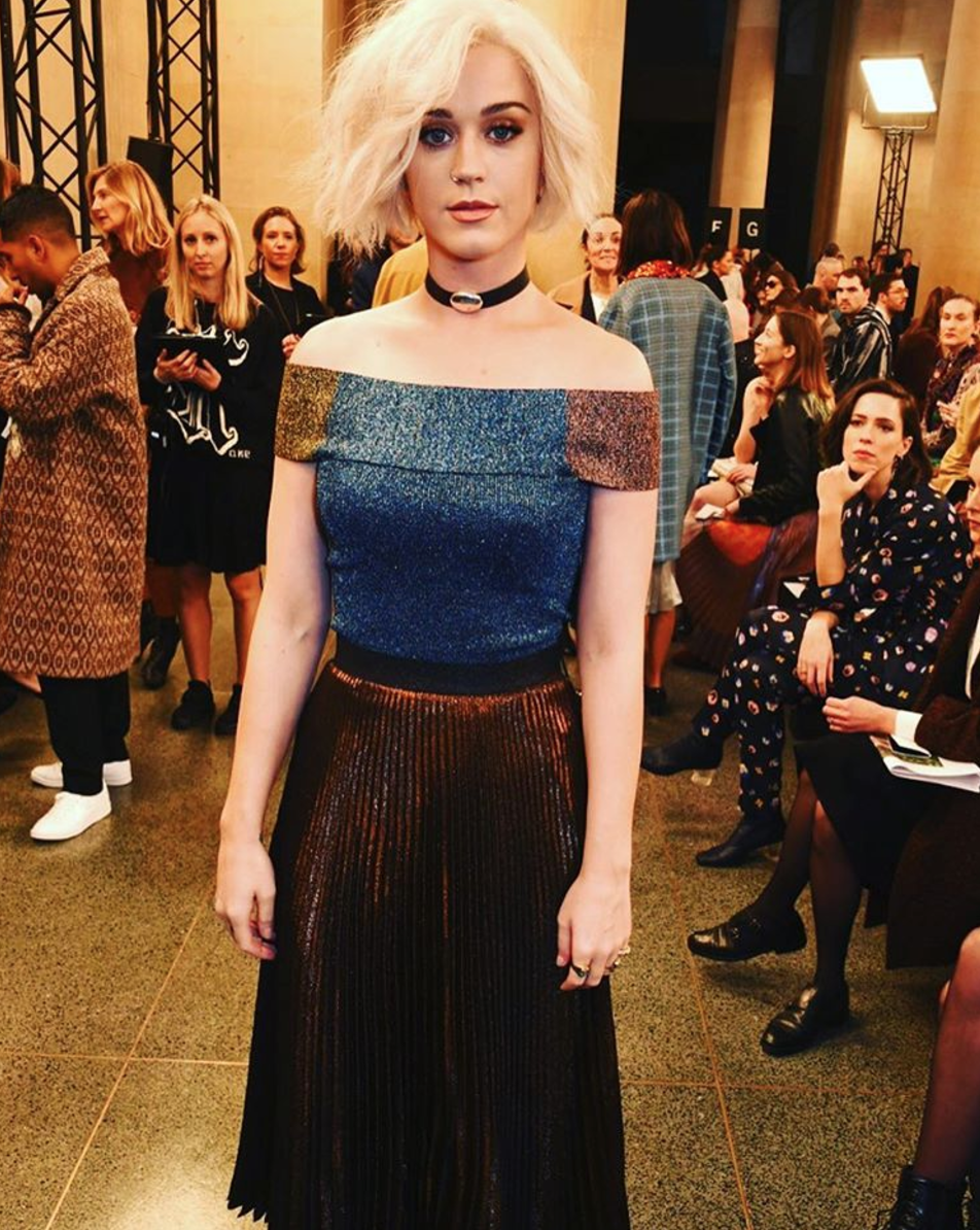 <p>Katy Perry showed off her blonde bob in a metallic off-the-shoulder dress. <i>[Photo: Instagram/sarahelmig]</i> </p>
