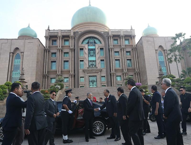 Prime Minister Tun Dr Mahathir Mohamad arrives for the monthly assembly of the Prime Minister's Department in Putrajaya May 21, 2018. — Picture by Razak Ghazali