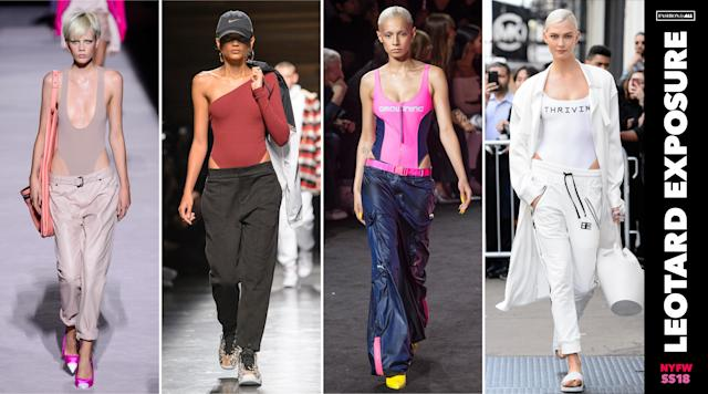 <p><i>Athleisure just became a little bit sexier. Models at Tom Ford and Baja East wore their sporty trousers low, showing off their hips peeking out from their leotards. This runway trend might be the easiest to assemble from your closet, but it is surely not the most realistic. (Photo: ImaxTree) </i></p>