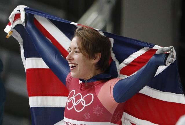 Pyeongchang 2018 Winter Olympics Skeleton - Pyeongchang 2018 Winter Olympics - Women's Finals - Olympic Sliding Centre - Pyeongchang, South Korea - February 17, 2018 - Lizzy Yarnold of Britain celebrates. REUTERS/Edgar Su