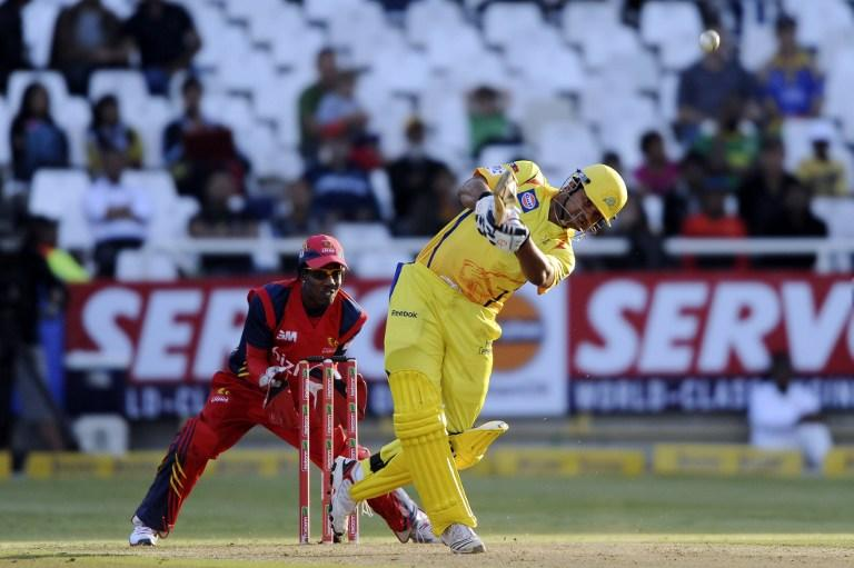 Suresh Raina of the Chennai Super Kings hits a 6 during Match 7 of The Champions League T20 (CLT20) between the Chennai Super Kings (India) and the Highveld Lions (South Africa) at Newlands Cricket Stadium in Cape Town on October 16, 2012. AFP PHOTO / Roger Sedres