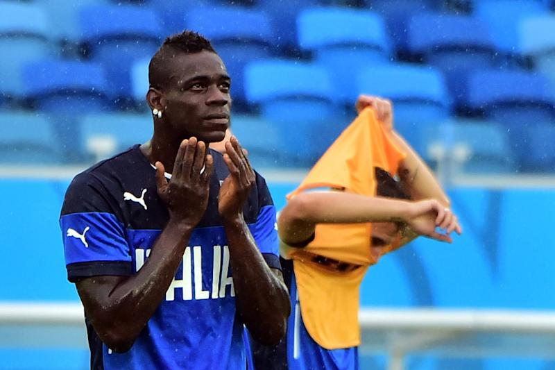 Italy striker Mario Balotelli takes part in a training session at Estadio das Dunas in Natal, Brazil on June 23, 2014, during the 2014 FIFA World Cup