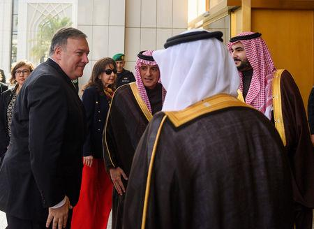 U.S. Secretary of State Mike Pompeo (L) is received by Saudi's Minister of State for Foreign Affairs Adel al-Jubeir in Riyadh, Saudi Arabia January 14, 2019. Andrew Caballero-Reynolds/Pool via REUTERS