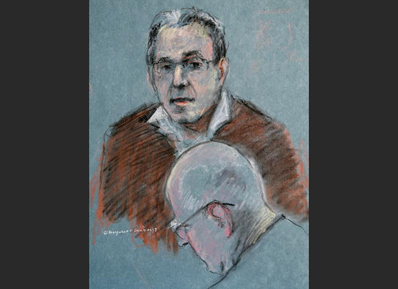 """This courtroom sketch depicts Stephen """"The Rifleman"""" Flemmi testifying as defendant James """"Whitey"""" Bulger listens, below, during his murder and racketeering trial at U.S. District Court in Boston, Thursday, July 18, 2013. Bulger and his former partner faced each other for the first time in nearly two decades Thursday when Flemmi took the stand at Bulger's trial and told of their years as secret FBI informants while they ran a feared gang in South Boston. (AP Photo/Margaret Small)"""