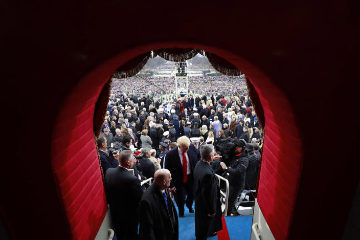 <p>Presidnet Donald J. Trump leaves the West Front of the United States Capitol after being sworn in as President of the United States on January 20, 2017 in Washington, DC. (Photo: Doug Mills – Pool/Getty Images) </p>