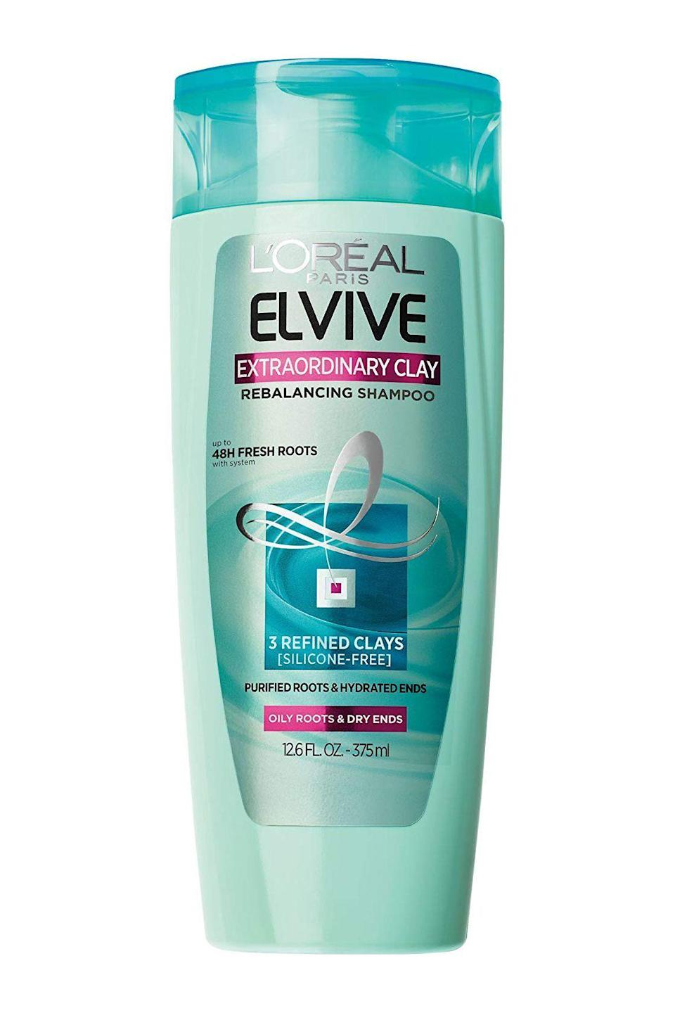 """<p><strong>'l''oreal paris'</strong></p><p>lorealparisusa.com</p><p><strong>$4.99</strong></p><p><a href=""""https://www.lorealparisusa.com/products/hair-care/products/shampoo/elvive-extraordinary-clay-shampoo.aspx"""" rel=""""nofollow noopener"""" target=""""_blank"""" data-ylk=""""slk:Shop Now"""" class=""""link rapid-noclick-resp"""">Shop Now</a></p><p><a href=""""https://www.cosmopolitan.com/style-beauty/beauty/g19827523/best-shampoo-for-oily-greasy-hair/"""" rel=""""nofollow noopener"""" target=""""_blank"""" data-ylk=""""slk:Greasy roots"""" class=""""link rapid-noclick-resp"""">Greasy roots</a> + dry, damaged ends = combination hair—a type that requires special care so you don't accidentally dry it out or make it oilier. Enter: this silicone-free shampoo that <strong>helps balance both your roots <em>and </em>ends</strong> with a combo of hydrating and oil-absorbing clays.</p>"""