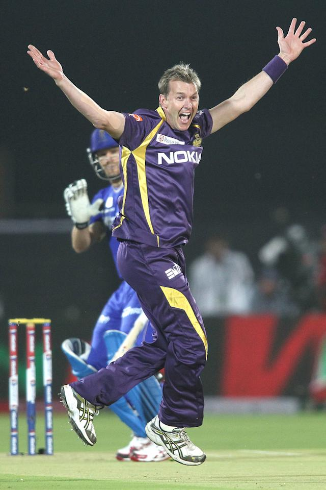 Brett Lee of Kolkata Knight Riders appeals unsuccessfully for LBW in the first over during match 8 of the the Pepsi Indian Premier League ( IPL) 2013 between The Rajasthan Royals and the Kolkata Knight Riders held at the Sawai Mansingh Stadium in Jaipur on the 8th April 2013..Photo by Shaun Roy-IPL-SPORTZPICS..Use of this image is subject to the terms and conditions as outlined by the BCCI. These terms can be found by following this link:..https://ec.yimg.com/ec?url=http%3a%2f%2fwww.sportzpics.co.za%2fimage%2fI0000SoRagM2cIEc&t=1493049492&sig=M8_qIpriv5bpcnfReBBbOw--~C
