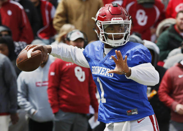 FILE - In this April 14, 2018, file photo, Oklahoma quarterback Kyler Murray (1) passes during an NCAA college football spring intrasquad game in Norman, Okla. Oklahomas quarterback competition took an unexpected twist at the Major League Baseball draft. Murray, the favorite to replace Heisman Trophy winner Baker Mayfield this season as Oklahomas starter, was selected ninth overall by the Oakland Athletics. (AP Photo/Sue Ogrocki, File)