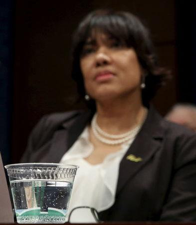 Flint, Michigan Mayor Karen Weaver awaits to testify before the House Democratic Steering and Policy Committee on the Flint lead water crisis in Washington February 10, 2016. REUTERS/Gary Cameron