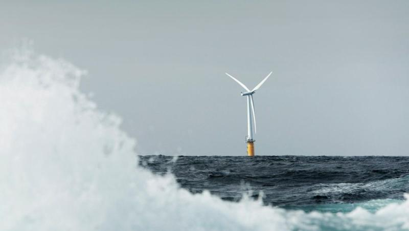 A Scotland Hywind floating turbine at work.