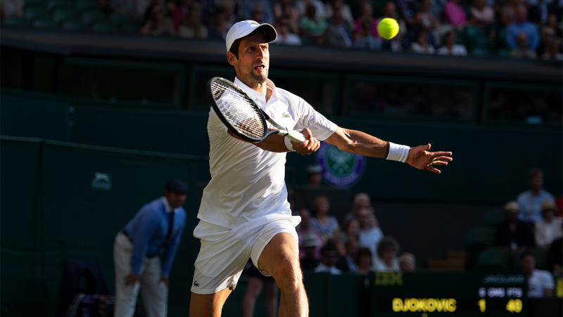 Novak Djokoivc's hat breached the all-white dress code at Wimbledon. (Getty Images)