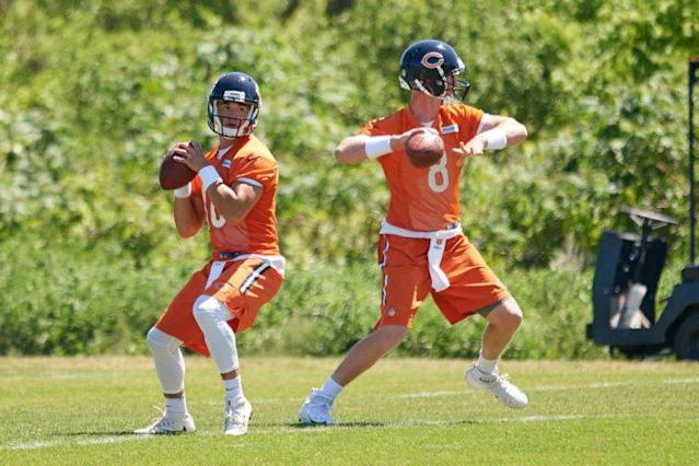 There they are, Trubisky and Glennon. Basically the Montana and Young of their generation. (Photo by Robin Alam/Icon Sportswire via Getty Images)