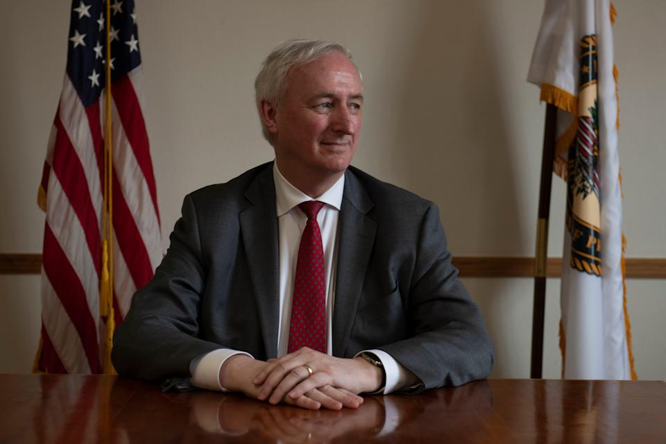 Deputy Attorney General Jeffrey Rosen poses for a portrait after an interview, the first interview since taking over for Rod Rosenstein. He was also touring the Englewood (Colorado) Federal Correctional Institution.