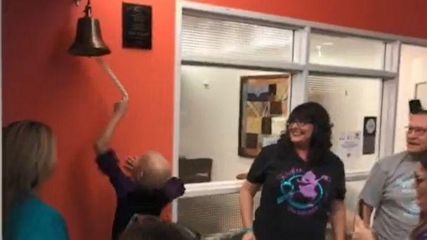 PHOTO: Kaylee Tolleson, 9, ran through a crowd of loved ones at Texas Children's Hospital and rang a bell to celebrate being declared cancer-free after a bout with ovarian cancer. (Texas Children's Hospital )