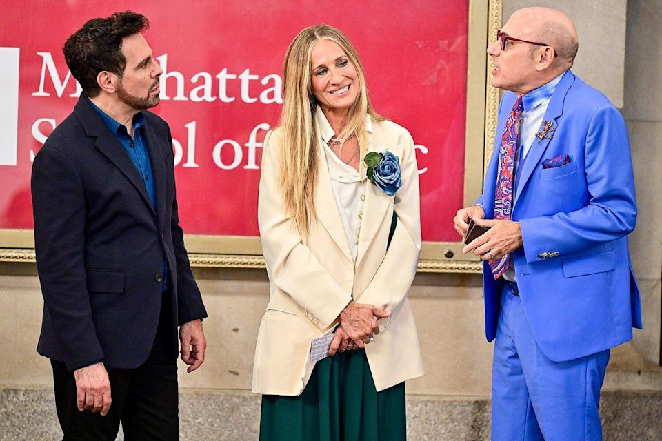 """Mario Cantone, Sarah Jessica Parker and Willie Garson seen on the set of """"And Just Like That..."""" the follow up series to """"Sex and the City"""" at the Lyceum Theater on July 24, 2021 in New York City."""