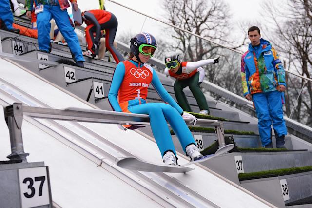 SOCHI, RUSSIA - FEBRUARY 09: Sarah Hendrickson of United States prepares for her jump during the Ladies' Normal Hill Individual Ski Jumping training on day 2 of the Sochi 2014 Winter Olympics at the RusSki Gorki Ski Jumping Center on February 9, 2014 in Sochi, Russia. (Photo by Lars Baron/Getty Images)