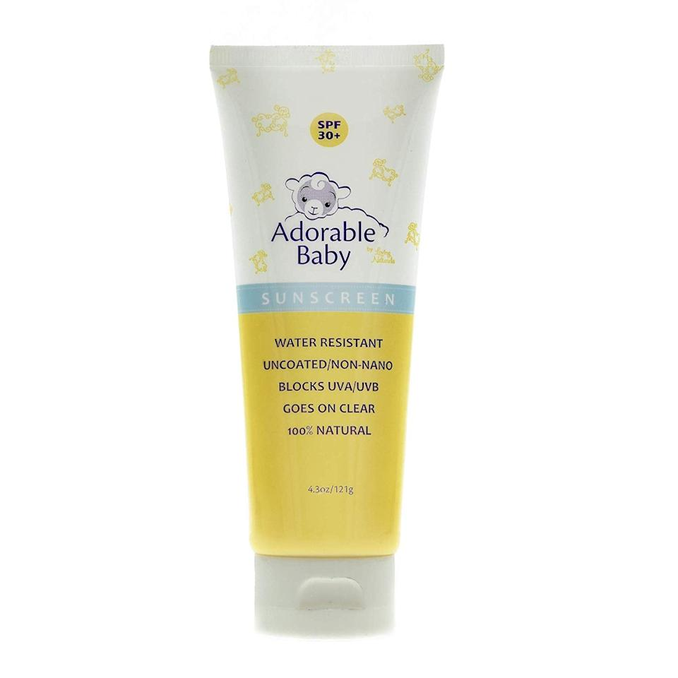 "<p>This zinc-oxide-based <a href=""https://www.popsugar.com/buy/Adorable-Baby-Sunscreen-Lotion-SPF-30-554741?p_name=Adorable%20Baby%20Sunscreen%20Lotion%2C%20SPF%2030%2B&retailer=amazon.com&pid=554741&price=20&evar1=moms%3Aus&evar9=17218020&evar98=https%3A%2F%2Fwww.popsugar.com%2Fphoto-gallery%2F17218020%2Fimage%2F30569231%2FAdorable-Baby-Sunscreen-Lotion-SPF-30&list1=sunscreen%2Ceco%2Csummer%2Chealth%20and%20fitness%2Cfamily%20travel%2Ckid%20shopping%2Chealth%20and%20wellness%2Cbaby%20shopping&prop13=api&pdata=1"" rel=""nofollow"" data-shoppable-link=""1"" target=""_blank"" class=""ga-track"" data-ga-category=""Related"" data-ga-label=""http://www.amazon.com/Adorable-Baby-Sunscreen-Non-Nano-Oxide/dp/B005FSR9OW/"" data-ga-action=""In-Line Links"">Adorable Baby Sunscreen Lotion, SPF 30+</a> ($20) does not use <em>any</em> synthetic ingredients (plus, it goes on clear!). The formula earns excellent UVA protection and balance of UVA protection in relation to the SPF on the EWG list.</p>"