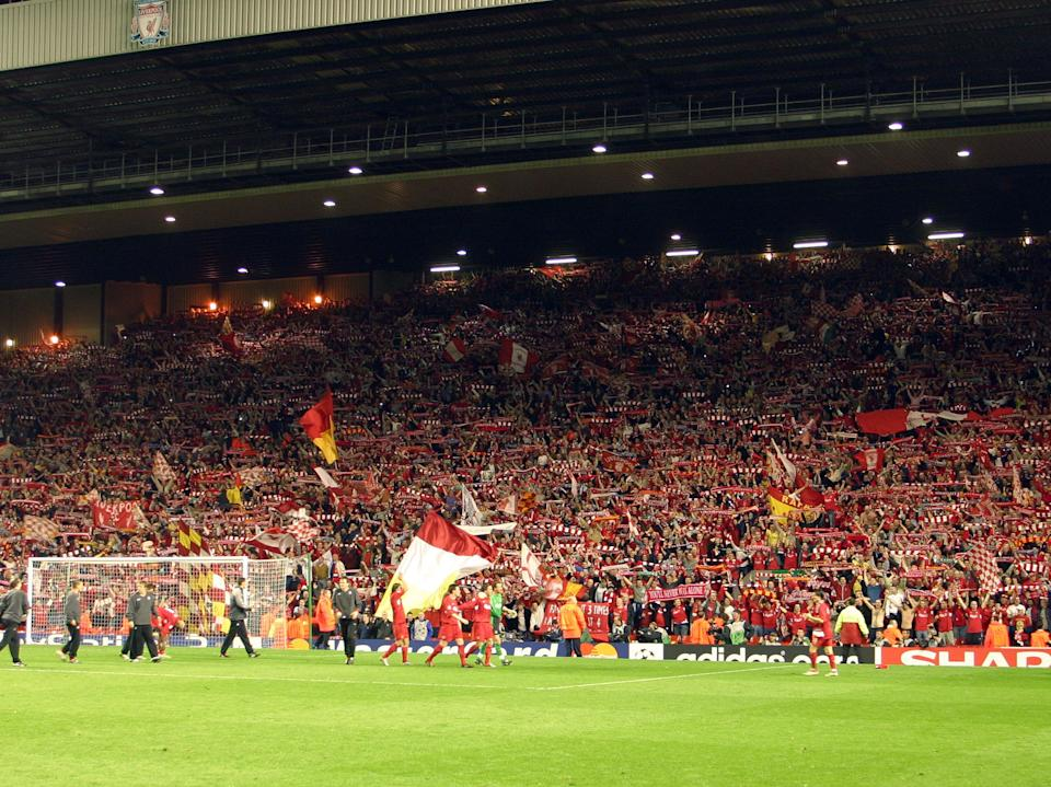 <p>Liverpool players and fans after the 2005 UCL semi-final win over Chelsea</p> (Liverpool FC via Getty Images)