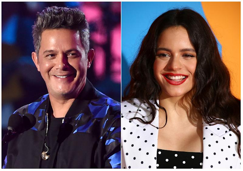 This combination photo shows Alejandro Sanz at the 18th annual Latin Grammy Awards in Las Vegas on Nov. 16, 2017, left, and Rosalia at the European MTV Awards in Seville, Spain on Nov. 3, 2019. Sanz and Rosalia are among the performers who will perform at the 20th Latin Grammys on Nov. 14, 2019 in Las Vegas. (AP Photo) ORG XMIT: NYET204