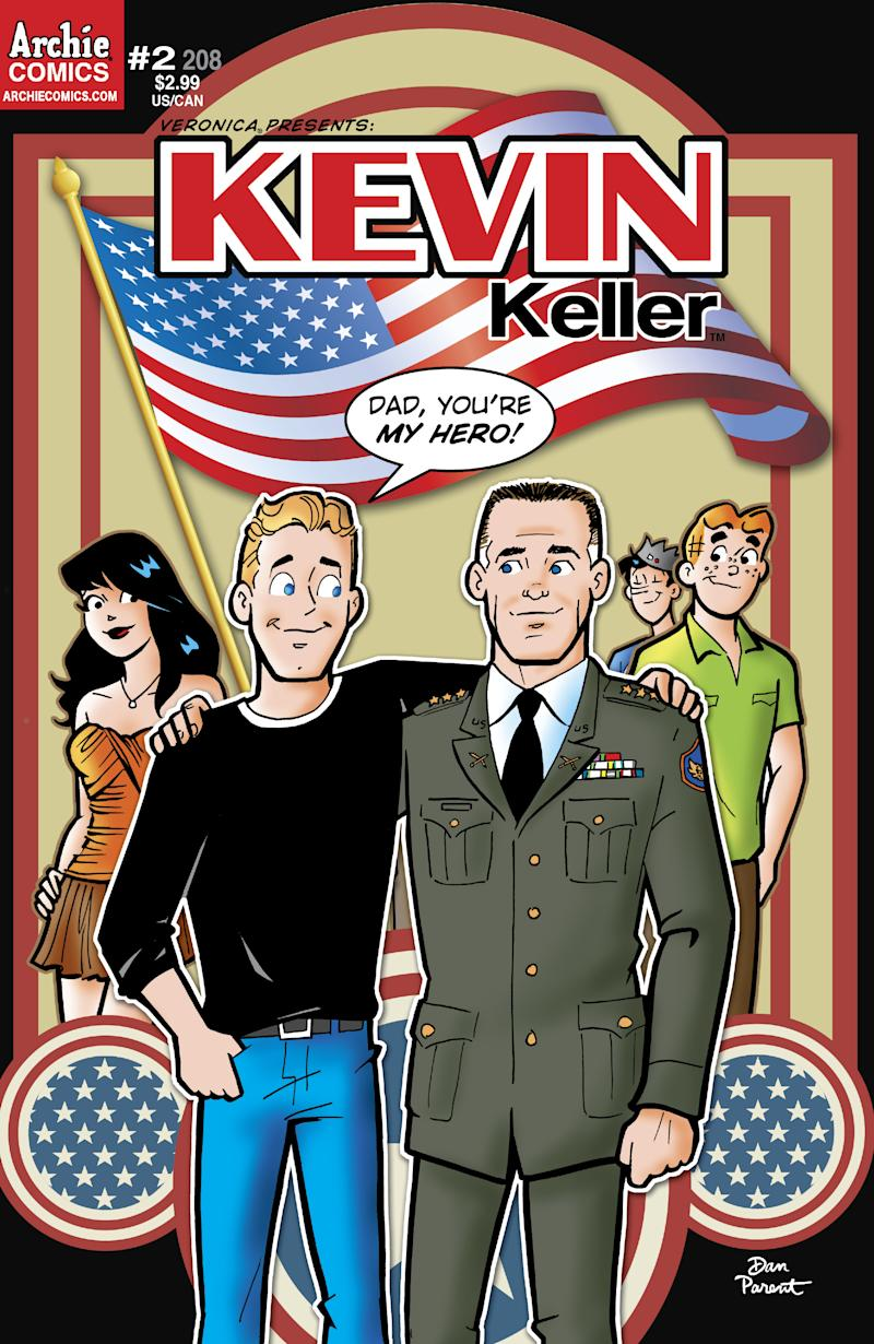 In this comic book cover image released by Archie Comics, Kevin Keller, left, the first openly gay character is shown on the cover with his father, a retired Army colonel.  The comic is part of a four-issue mini-series debuting Wednesday, June 8, 2011. (AP Photo/Archie Comics)