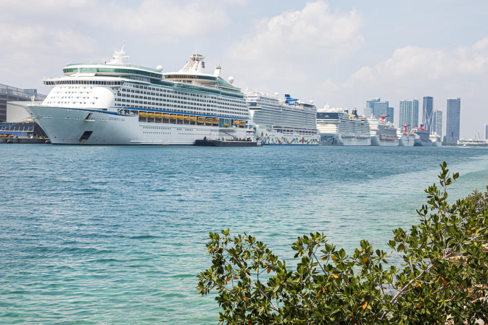 Florida, Port of Miami, Row of cruise ships docked, non-essential business due to Coronavirus. (Photo by: Jeffrey Greenberg/Education Images/Universal Images Group via Getty Images)