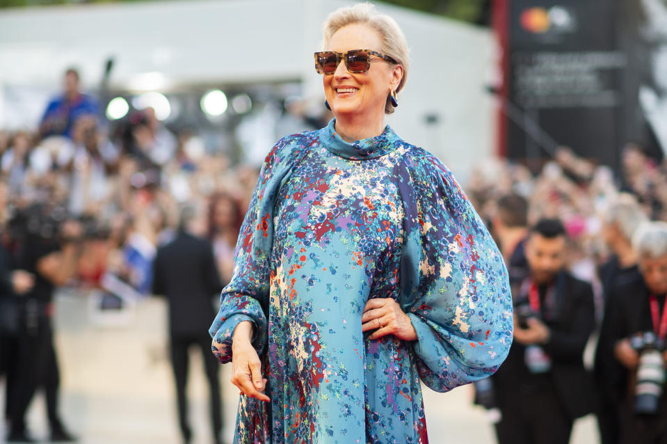 Actress Meryl Streep poses for photographers upon arrival at the premiere of the film 'The Laundromat' at the 76th edition of the Venice Film Festival, Venice, Italy, Sunday, Sept. 1, 2019. (Photo by Arthur Mola/Invision/AP)