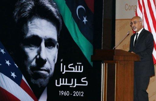 "<p>Mohamed al-Megaryef, president of Libya's ruling national assembly, speaks during a ceremony to honor the late US Ambassador to Libya Christopher Stevens in Tripoli. The sign reads, ""Thanks Chris"".</p>"