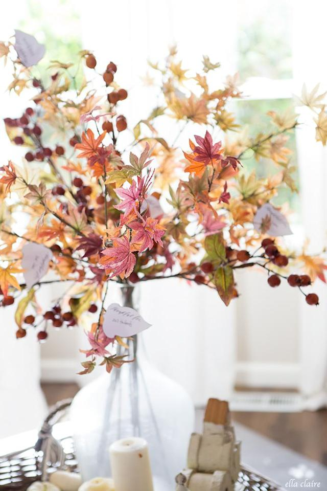 """<p>If you want your tree to look more like a traditional centerpiece, skip the bare twigs and opt for brightly colored foliage. Then, use these leaf printouts to add in your blessings. </p><p>Get the tutorial at <a rel=""""nofollow"""" href=""""https://www.ellaclaireinspired.com/thankful-tree-leaves/"""">Ella Claire Inspired</a>.</p><p><strong>More</strong>: <a rel=""""nofollow"""" href=""""https://www.housebeautiful.com/entertaining/holidays-celebrations/g3925/thanksgiving-traditions-comeback/"""">11 Thanksgiving Traditions We Wish Would Come Back</a><br></p>"""