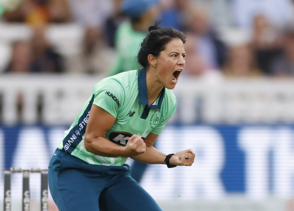 Marizanne Kapp celebrates one of her four wickets as she finished with figures of 4-9 to bowl the Invincibles to victory