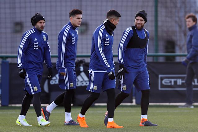 Soccer Football - Argentina Training - City Football Academy, Manchester, Britain - March 19, 2018 Argentina's Nicolas Otamendi, Marcos Rojo and Javier Mascherano during training Action Images via Reuters/Jason Cairnduff