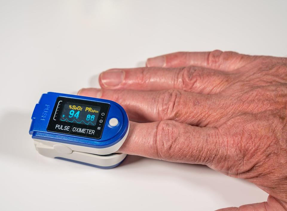 Oximeters are used on people with Covid-19 to make sure their oxygen levels do not drop to dangerous lows (Getty/iStock)