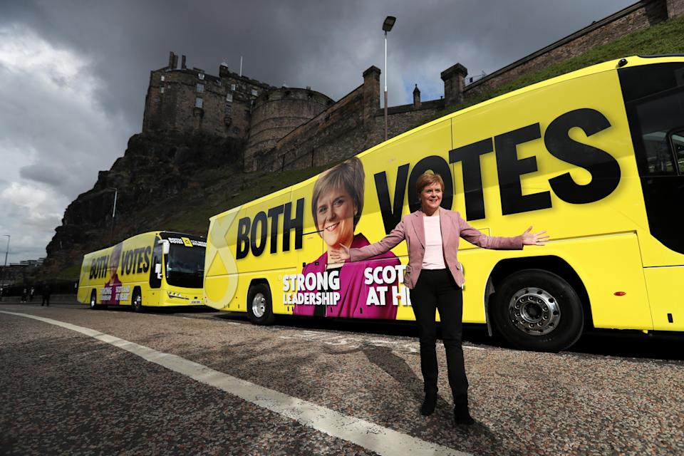 SNP leader Nicola Sturgeon wants Scots to give both their votes to her party (Russell Cheyne/PA)