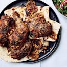 "Because of the brothy marinade, the skin won't get as crisp as with other roast chickens, but the flesh will be so tender, you'll want to eat it with your hands. <a href=""https://www.epicurious.com/recipes/food/views/zaatar-roast-chicken-with-green-tahini-sauce-51241990?mbid=synd_yahoo_rss"" rel=""nofollow noopener"" target=""_blank"" data-ylk=""slk:See recipe."" class=""link rapid-noclick-resp"">See recipe.</a>"