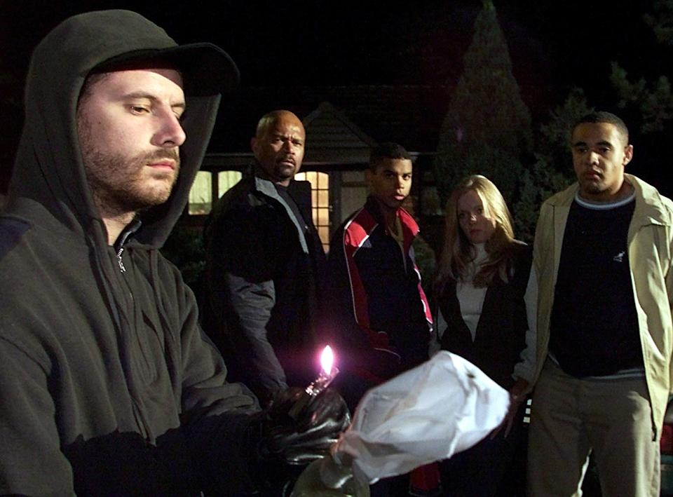 The dramatic end to the recent racist storyline in the Channel 4 soap Brookside as Josh, played by Paul Barnhill (front), attempts to set fire to the Johnson home, but the arson attempt dramatically backfires.