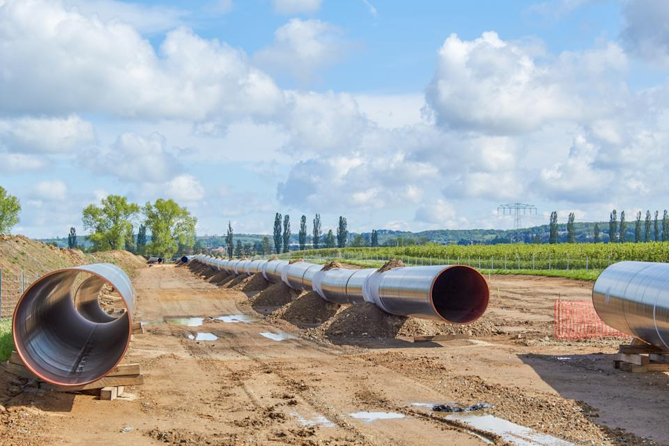 Landside construction section of the 'Nord Stream2' route near Meissen
