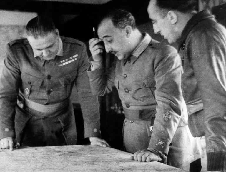 Franco (c) commanding operations during the Spanish Civil War in the late 1930s