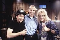 <p>Dana Carvey wears everyone's go-to, stay home outfit in <b>Wayne's World</b> as Garth. I mean, this is the kind of combination you can wear days on end without stepping outside (or touching your contact lens case).</p>