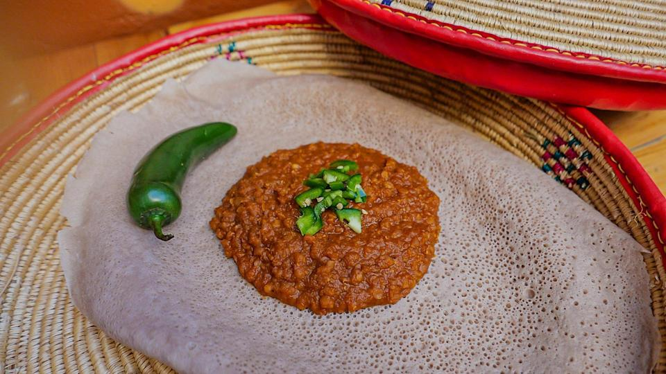 """<p>Not all Jewish traditions allow for the consumption of lentils on Passover. But if lentils do fit within your customs, this Ethiopian messer wot is a flavorful and <a href=""""https://www.thedailymeal.com/cook/7-easy-recipes-help-you-go-vegan-slideshow?referrer=yahoo&category=beauty_food&include_utm=1&utm_medium=referral&utm_source=yahoo&utm_campaign=feed"""" rel=""""nofollow noopener"""" target=""""_blank"""" data-ylk=""""slk:plant-based way"""" class=""""link rapid-noclick-resp"""">plant-based way</a> to incorporate the diversity of the Jewish diaspora to your Passover.</p> <p><a href=""""https://www.thedailymeal.com/recipes/ethiopian-messer-wot?referrer=yahoo&category=beauty_food&include_utm=1&utm_medium=referral&utm_source=yahoo&utm_campaign=feed"""" rel=""""nofollow noopener"""" target=""""_blank"""" data-ylk=""""slk:For the Ethiopian Red Lentil Stew recipe, click here."""" class=""""link rapid-noclick-resp"""">For the Ethiopian Red Lentil Stew recipe, click here.</a></p>"""