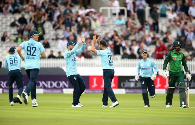 Lewis Gregory (centre) impressed with ball and bat for England